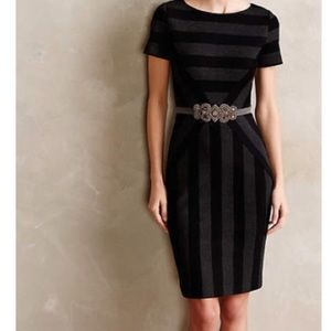 Anthropologie Maeve striped dress black and grey